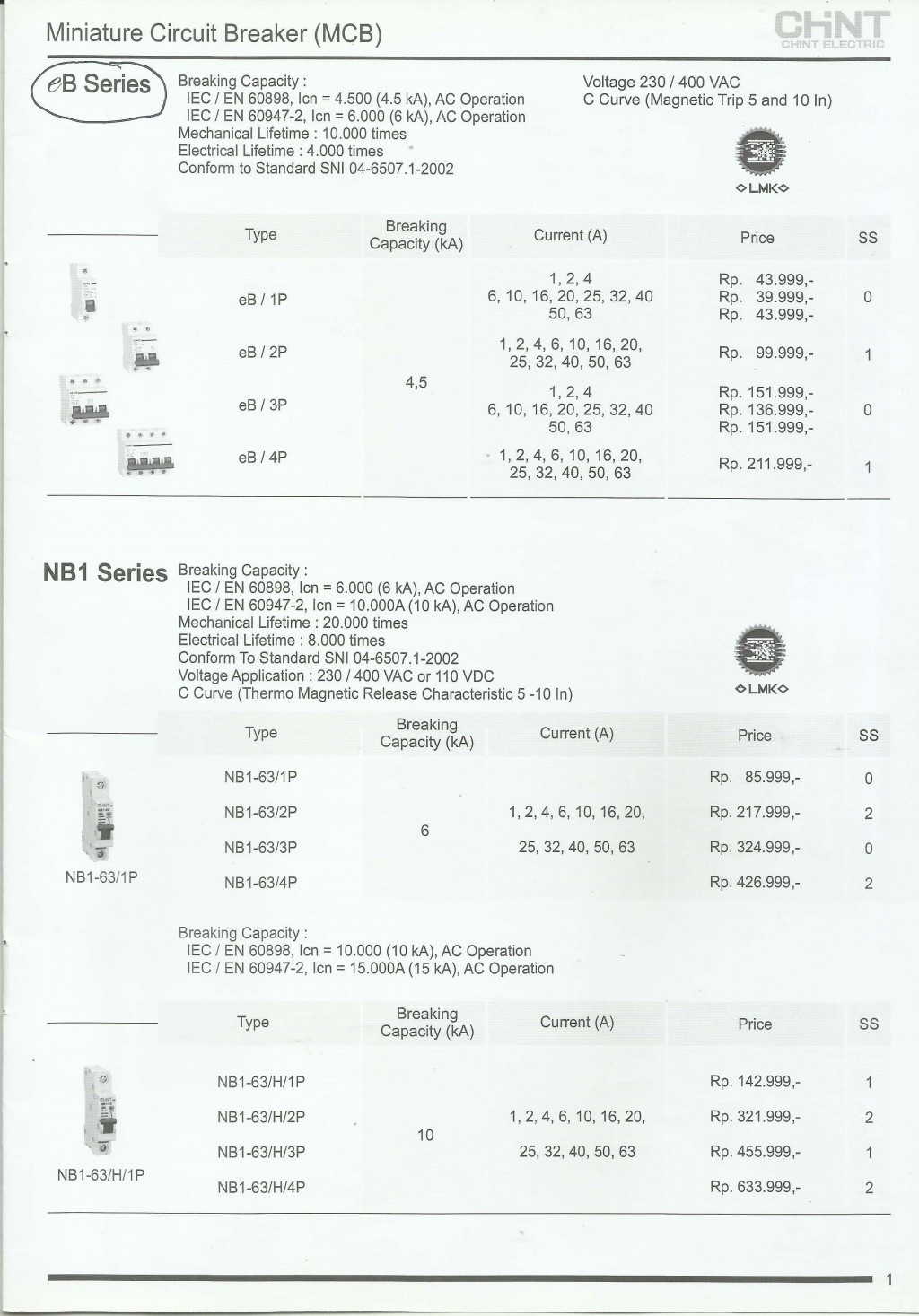 ACCESSORIES PANEL & BOX PANEL, PRICELIST CHINT, Miniature Circuit Breaker (MCB)