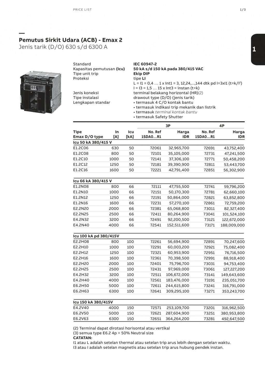 ACCESSORIES PANEL & BOX PANEL, ABB ELECTRIFICATION PRODUCT PRICELIST 2018, Pemutus Sirkuit Udara (ACB) Emax2 - Jenis Tarik (D/O) 630 s/d 6300A