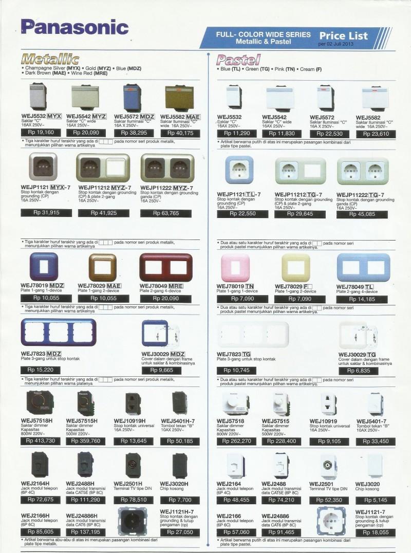Harga Jual Saklar Listrik Panasonic Seri Price List